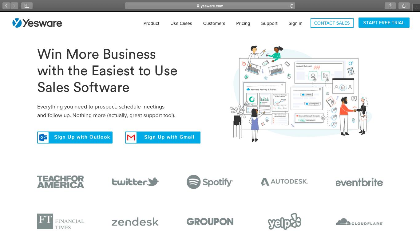Yesware webpage