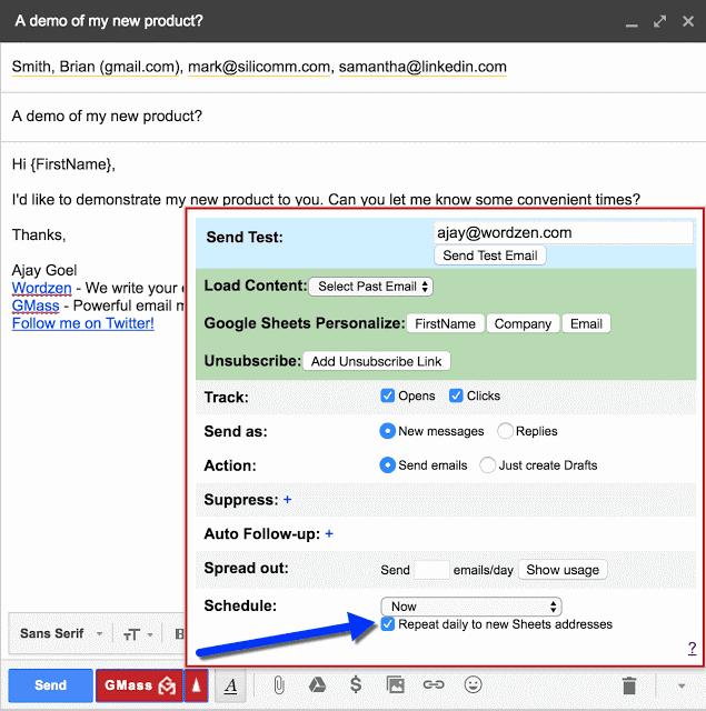 GMass interface showing mail merge automation