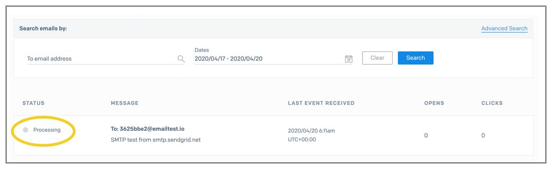SendGrid pending email