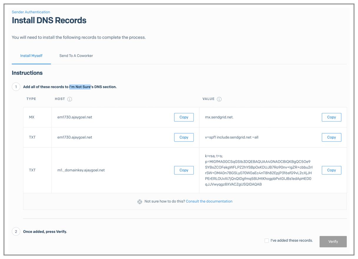 SendGrid DNS records