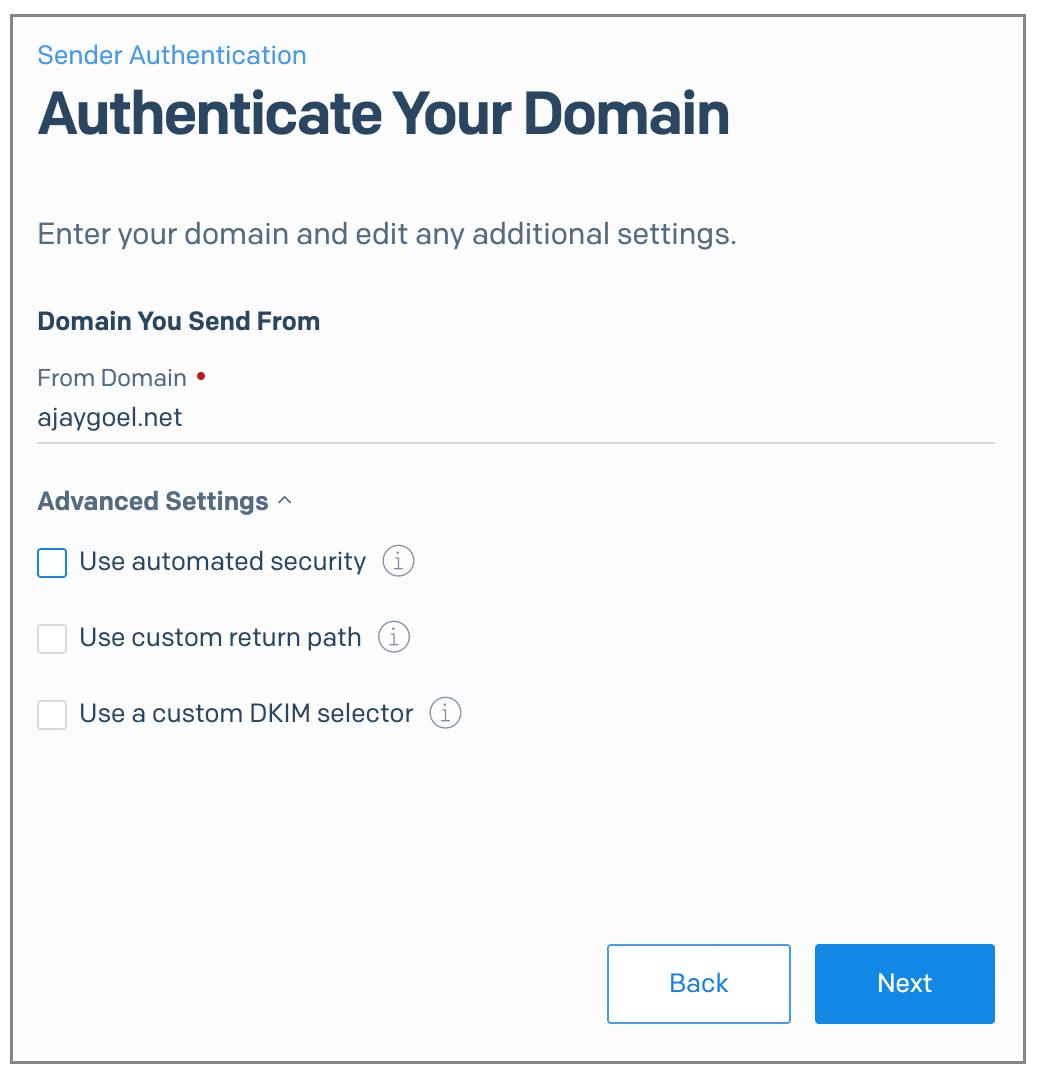 SendGrid From Domain