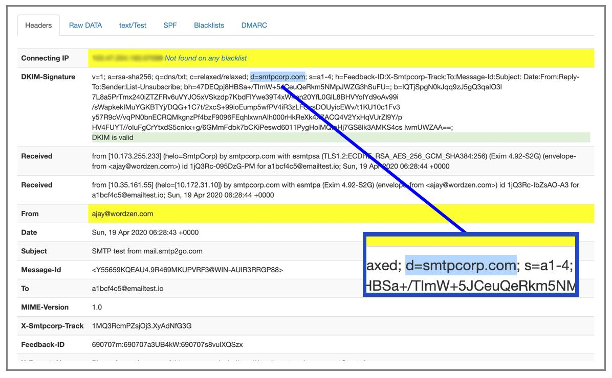 SMTP2GO DKIM signature