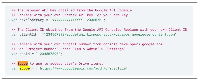 Google Picker code