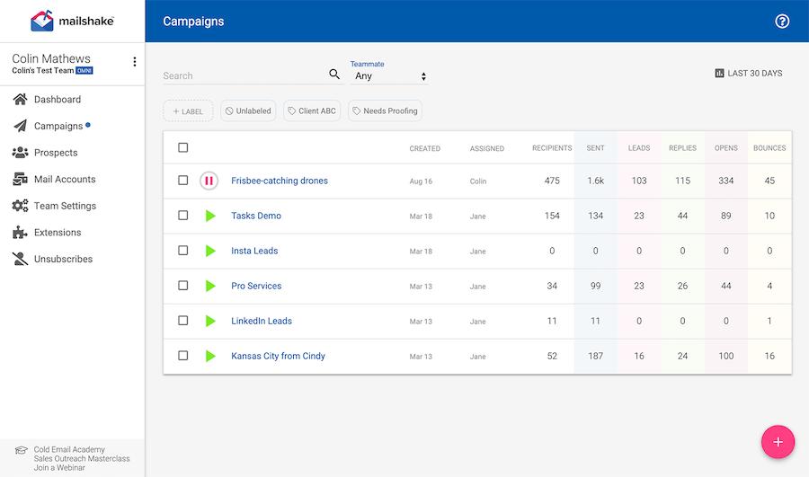 Mailshake interface