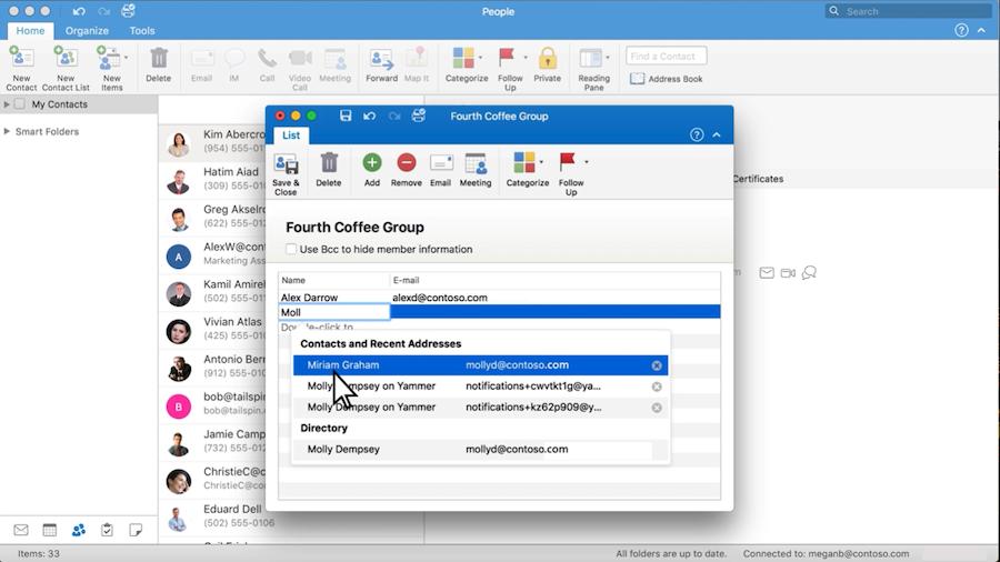 Outlook interface showing Add Members window