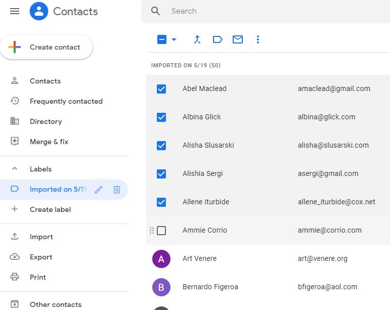 Google Contact interface