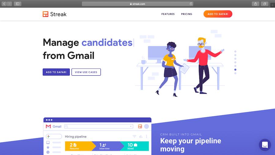 Streak for Gmail Homepage