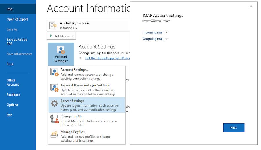 Outlook interface showing IMAP Server Settings