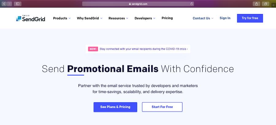 SendGrid homepage