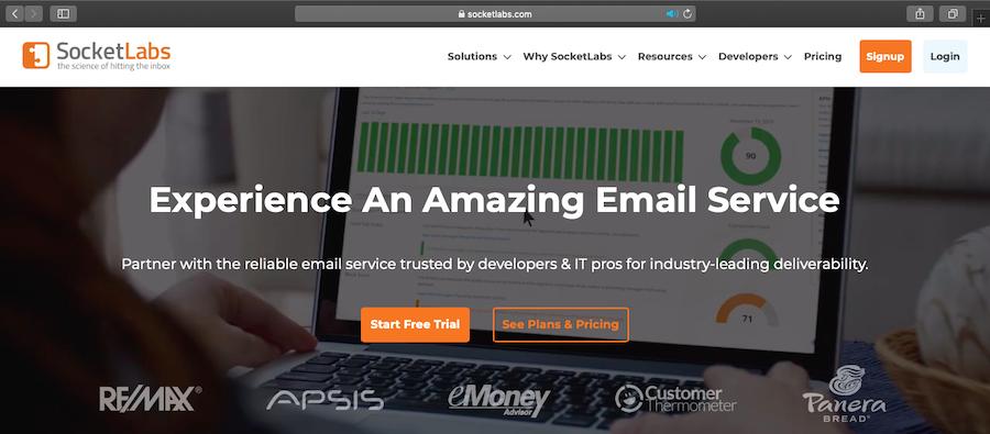 SocketLabs homepage