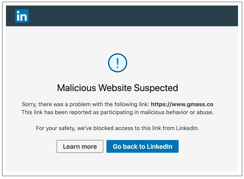 LinkedIn warning