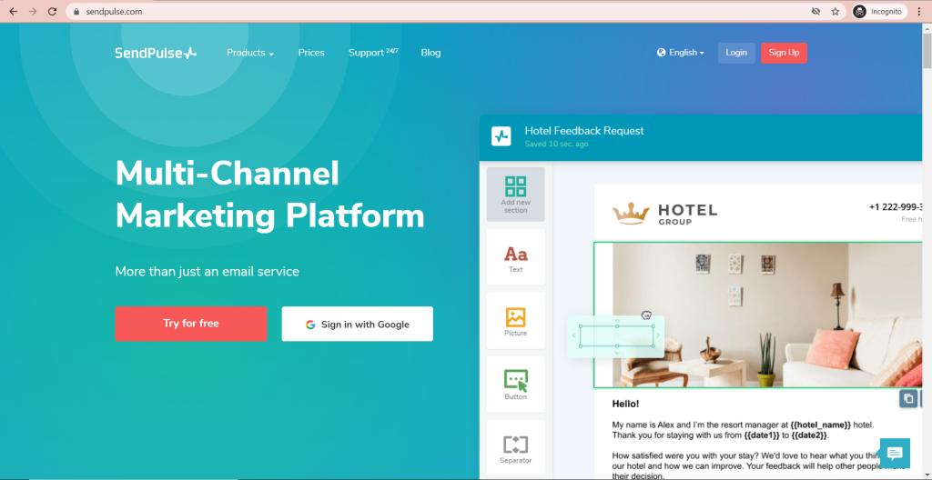 SendPulse Homepage