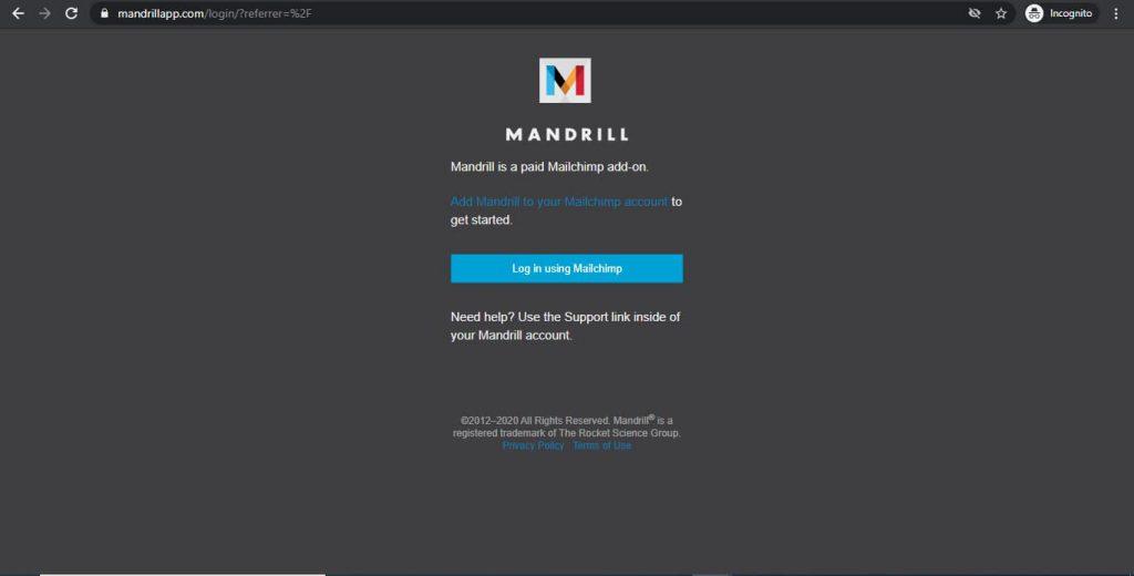 Mandrill Homepage