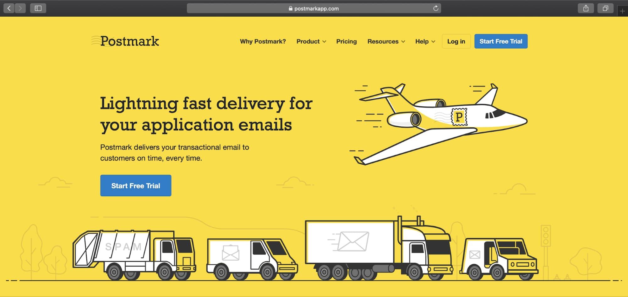 Postmark app homepage