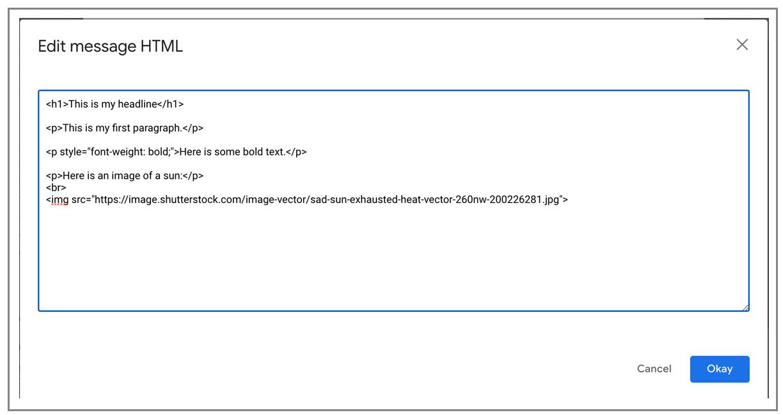 paste custom HTML