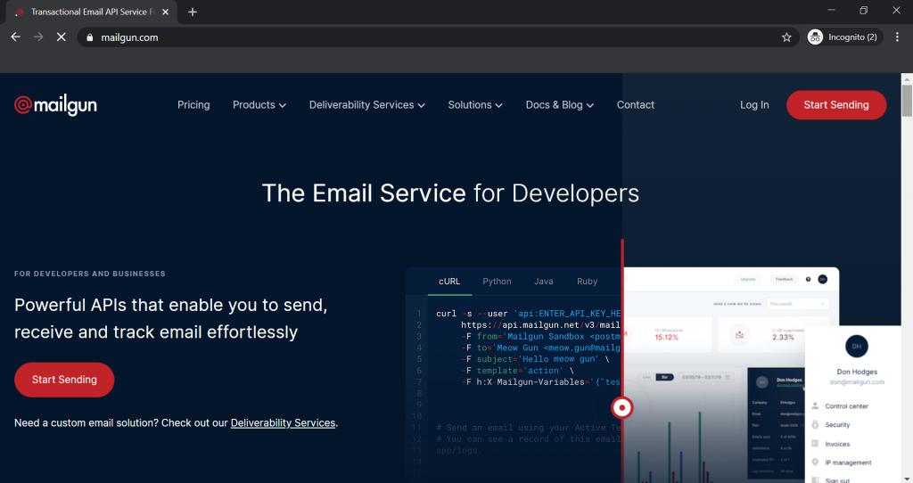 Transactional Email Mailgun