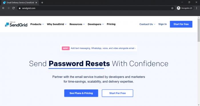 Transactional Email Platform SendGrid