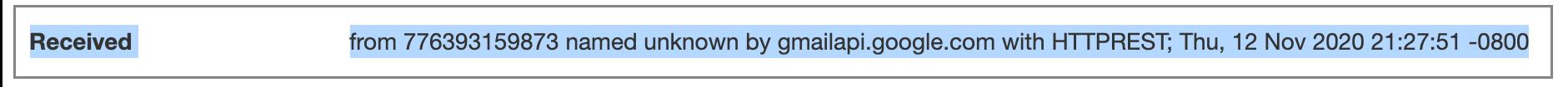 API received header line