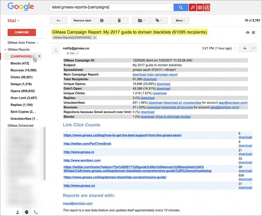 Gmail Add Ons Gmass Analytics and Reports