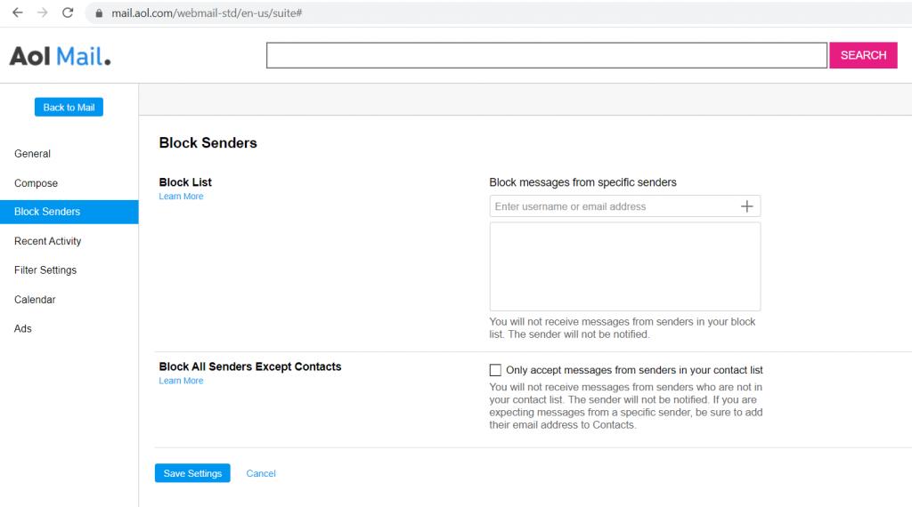 block-senders-settings