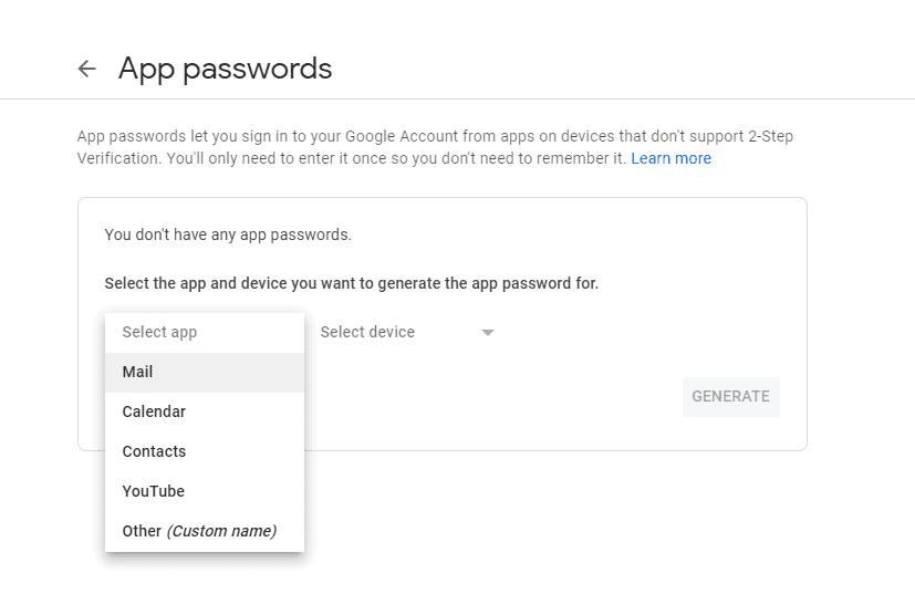 app passwords tab