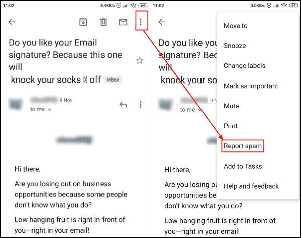 report spam box
