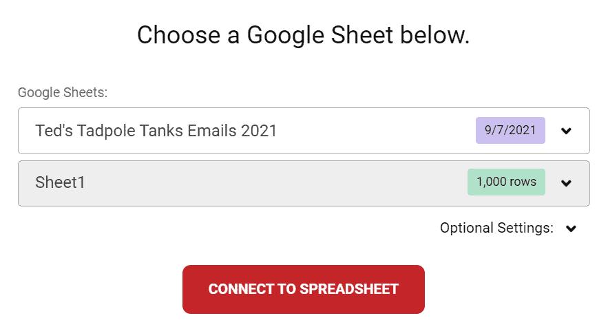 Choose a spreadsheet